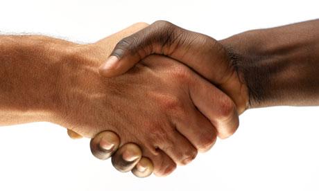 men banging hands
